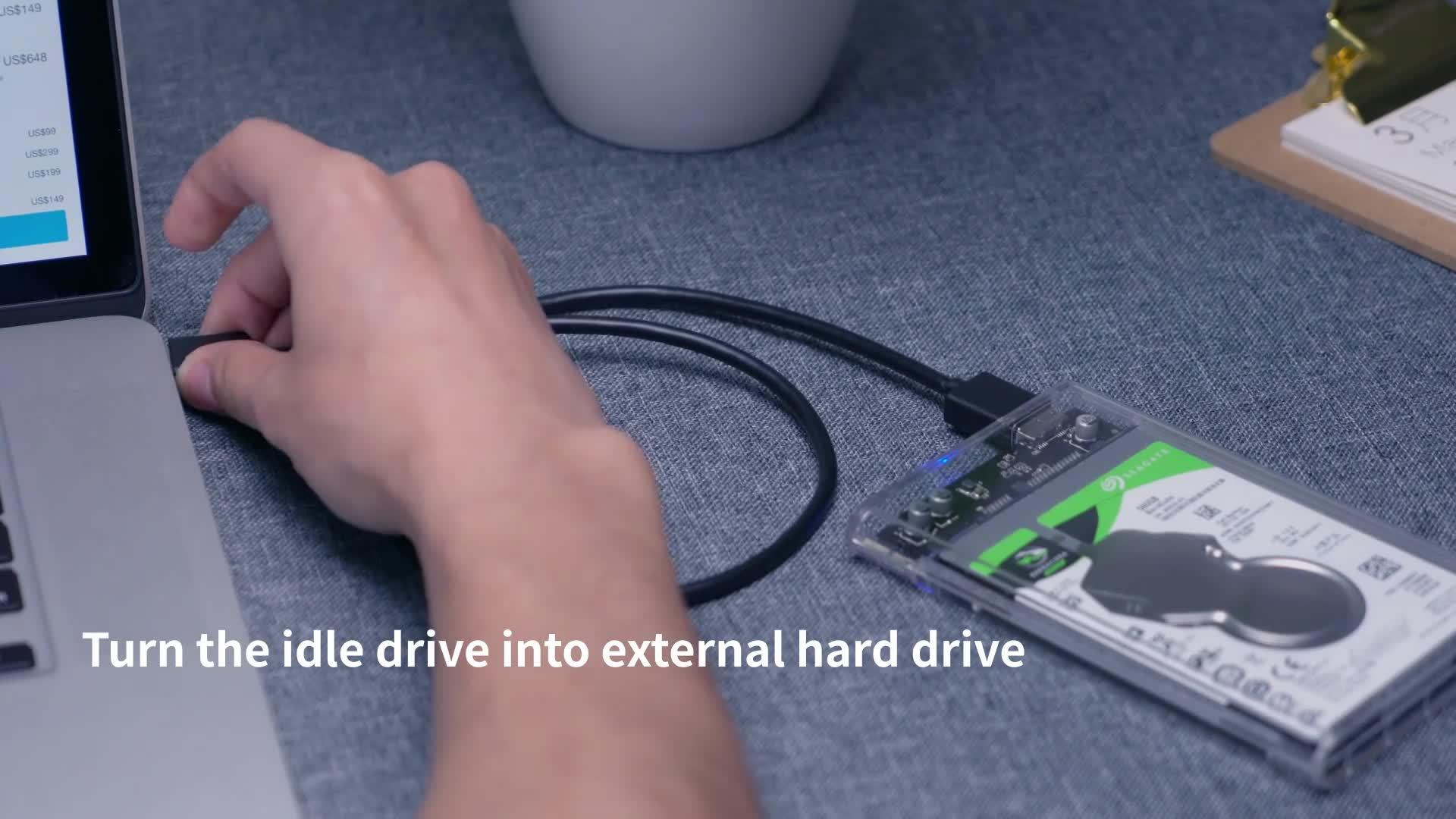 オリコ 2.5 インチ HDD Ssd エンクロージャ透明 SATA USB3.0 ツール-送料 5 5gbps ハードディスクドライブケース 4 テラバイトサポート UASP プロトコル 2139U3