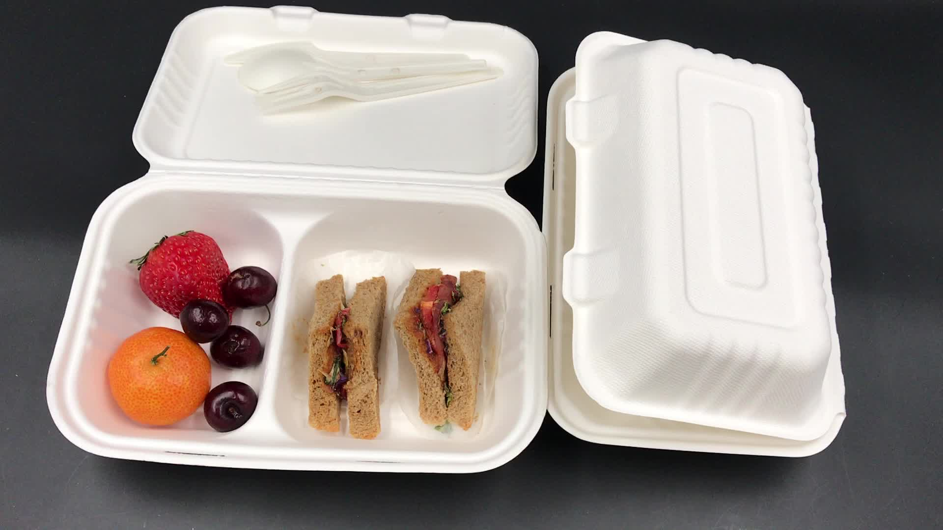 2018 green biodegradable food packaging container bagasse to go paper lunch box disposable take away box for fried chicken