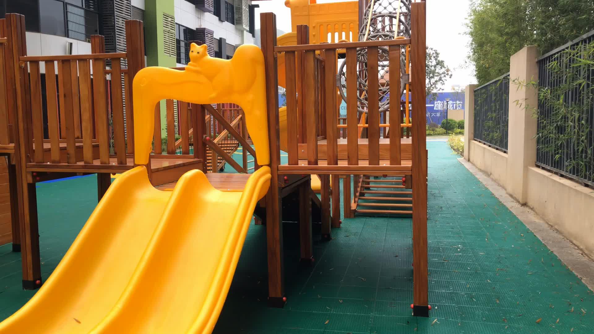 COWBOY Voorschoolse Outdoor Design Kinderen Speeltuin Houten Custom Speeltuin Slides Klimmen Netten Voor Kinderen
