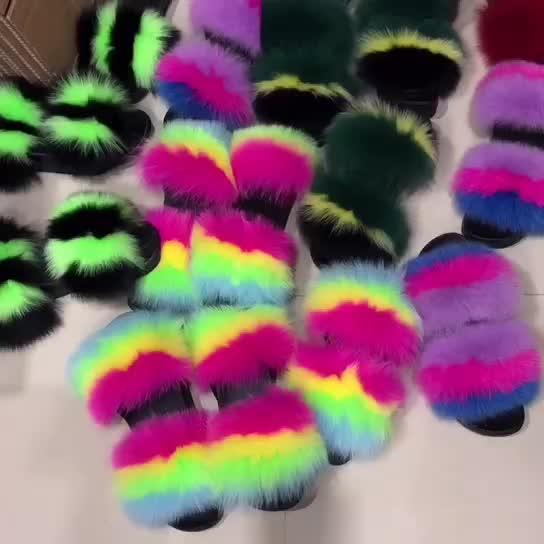 Grosir Sandal Sandal Dalam Ruangan Jelly Tas Flush Nyata Lembut Bulu Rakun Sandal Outdoor Slider Sandal Fox Fur Slide untuk Wanita