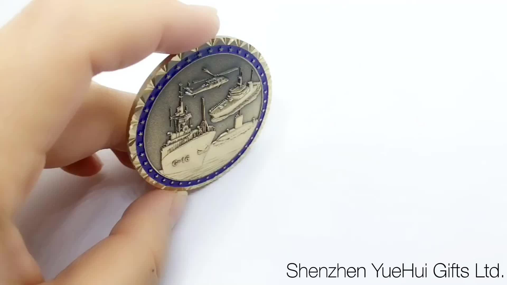 custom engraved military metal coast guard navy cheif challenge coins