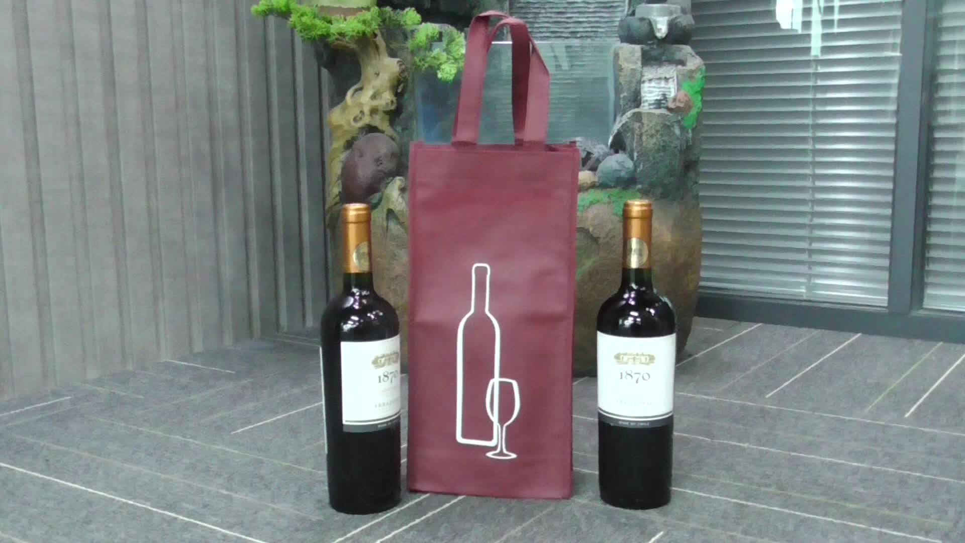 Hot sale Promotion Comfortable Eco-Friendly Non Woven handle bag 2 Bottle non-woven cloth wine tote bag with custom logo