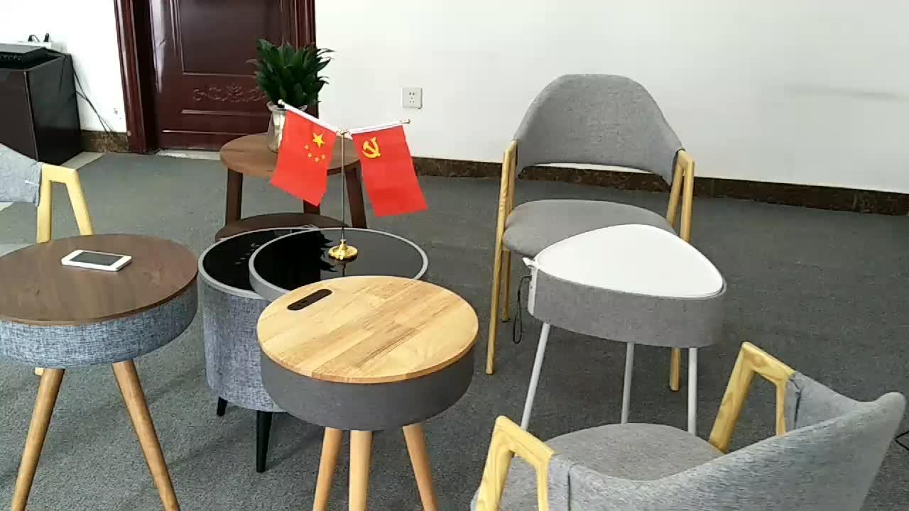 Houten en Lederen Huishoudelijke Luidsprekers Krachtige Bluetooth Tafel Luidspreker met Draadloze oplader