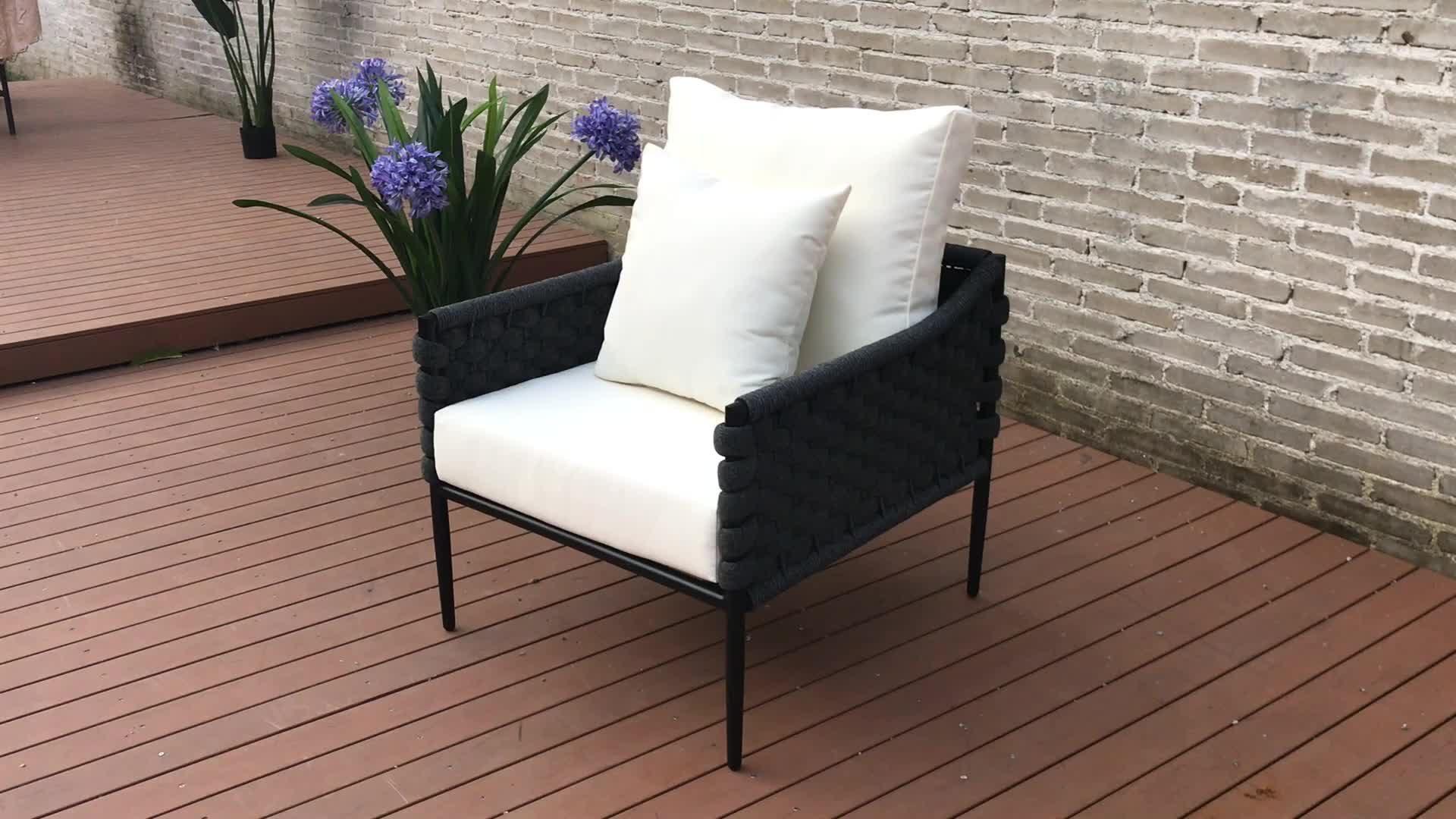 Outdoor garden aluminum rattan cane webbing rope lounge chair