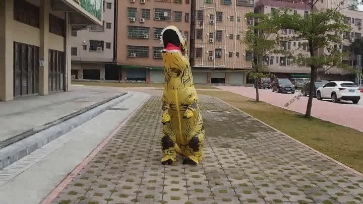 Sıcak satış şişme t rex dinozor kostüm cadılar bayramı elbise cosplay fantezi kostüm yeşil
