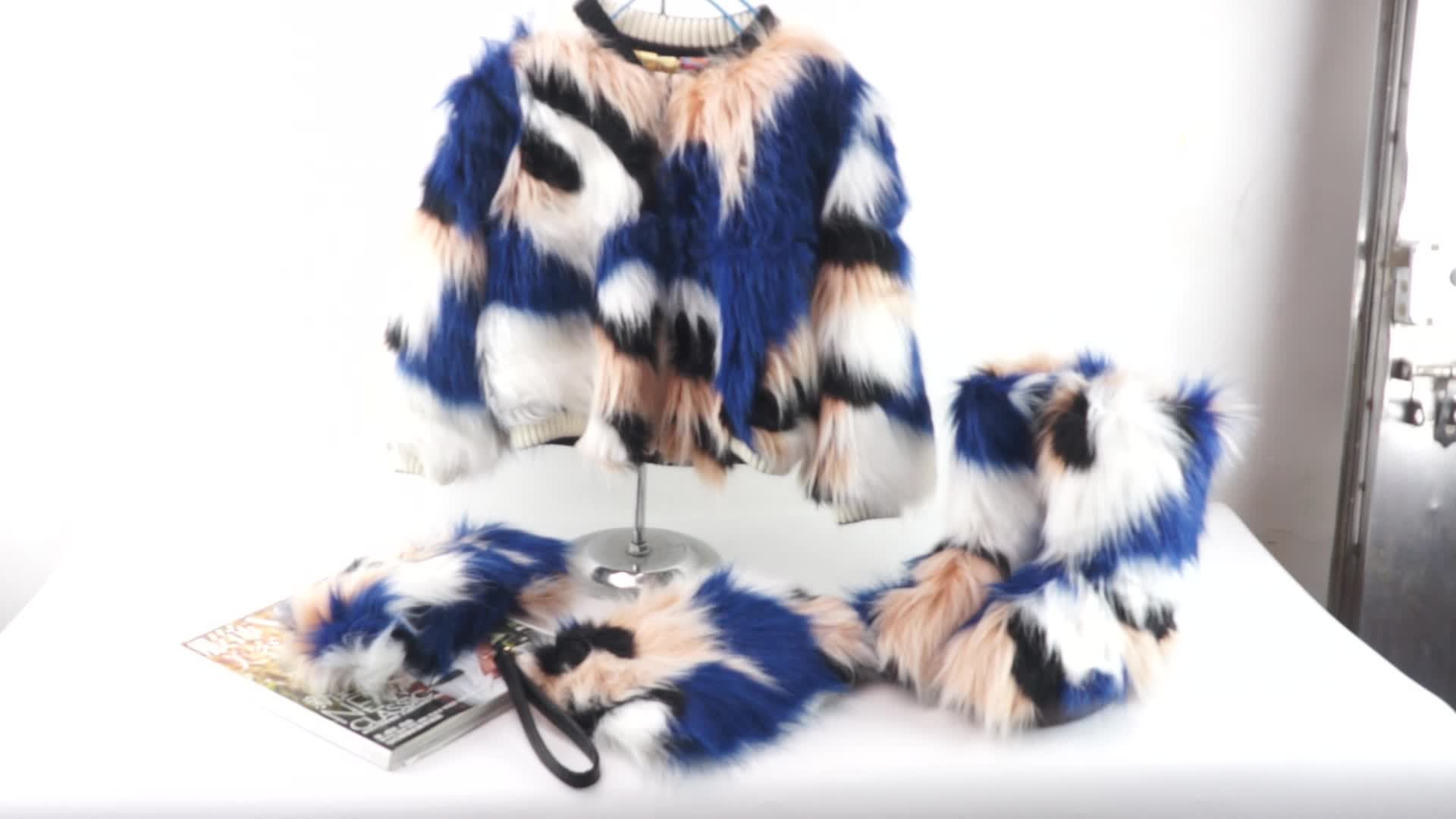 Winter fashion  Fake Fur boots with  colorful headband match lady handbags as set