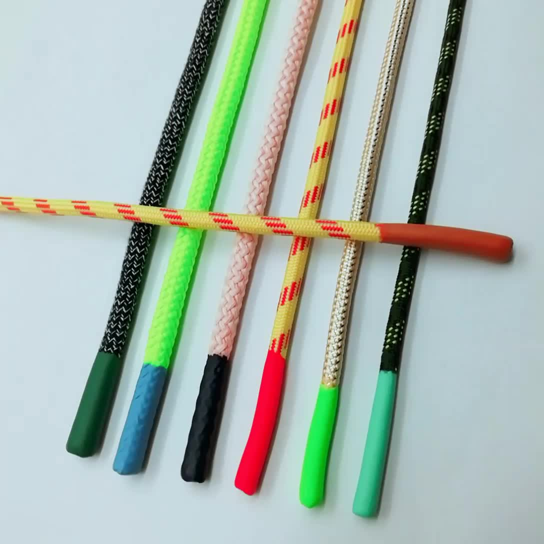 Customized hoodie round drawstring cord,drawcord with silicone tips