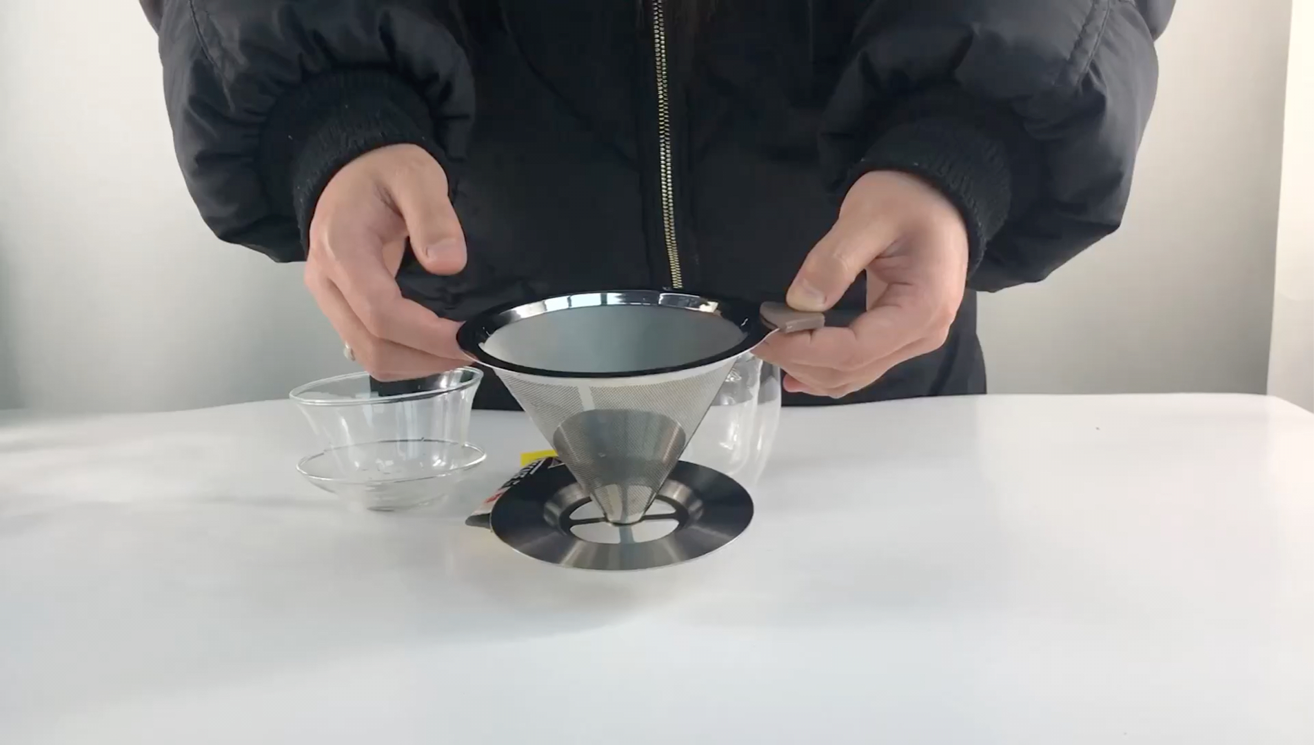 4cup Pour Over Coffee Filter - Stainless Steel Drip Cone Dripper with Stand