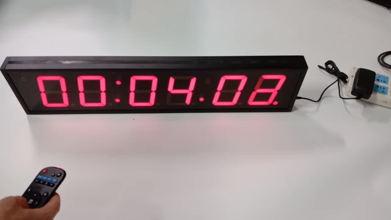 """Hot sell   Wall Mounted  Red    4"""" Digit  LED Timer   LED Digital Clock   Display     With Remote Control"""