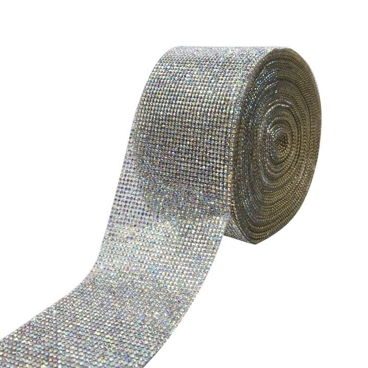 Q&N 3 inch rhinestone ribbon deco wedding mesh wrap roll sparkle listones