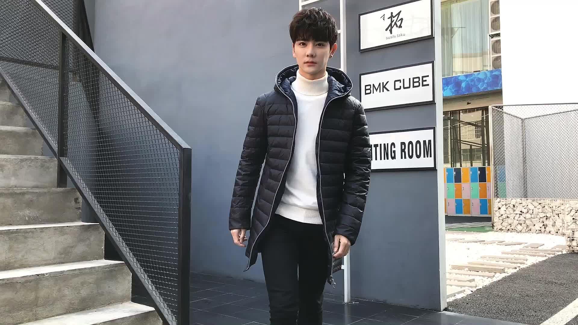Personalizzato Mens lucido nylon imbottito di spessore outdoor giù outwear Fit inverno cap Estensione Verso Il Basso giacca di Cotone