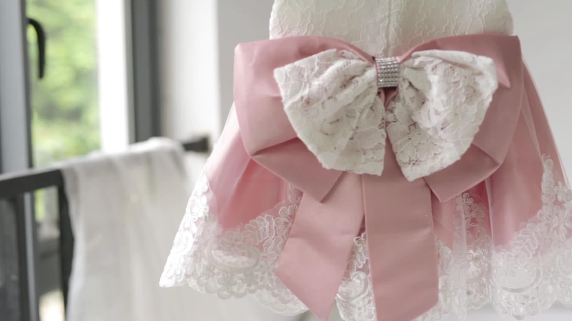 Toptan Bebek Elbise Yay ile Yenidoğan Kızlar Prenses Doğum Günü Partisi Pembe Elbiseler süslü elbise Bebek Kız Vaftiz Elbisesi Beyaz Elbise