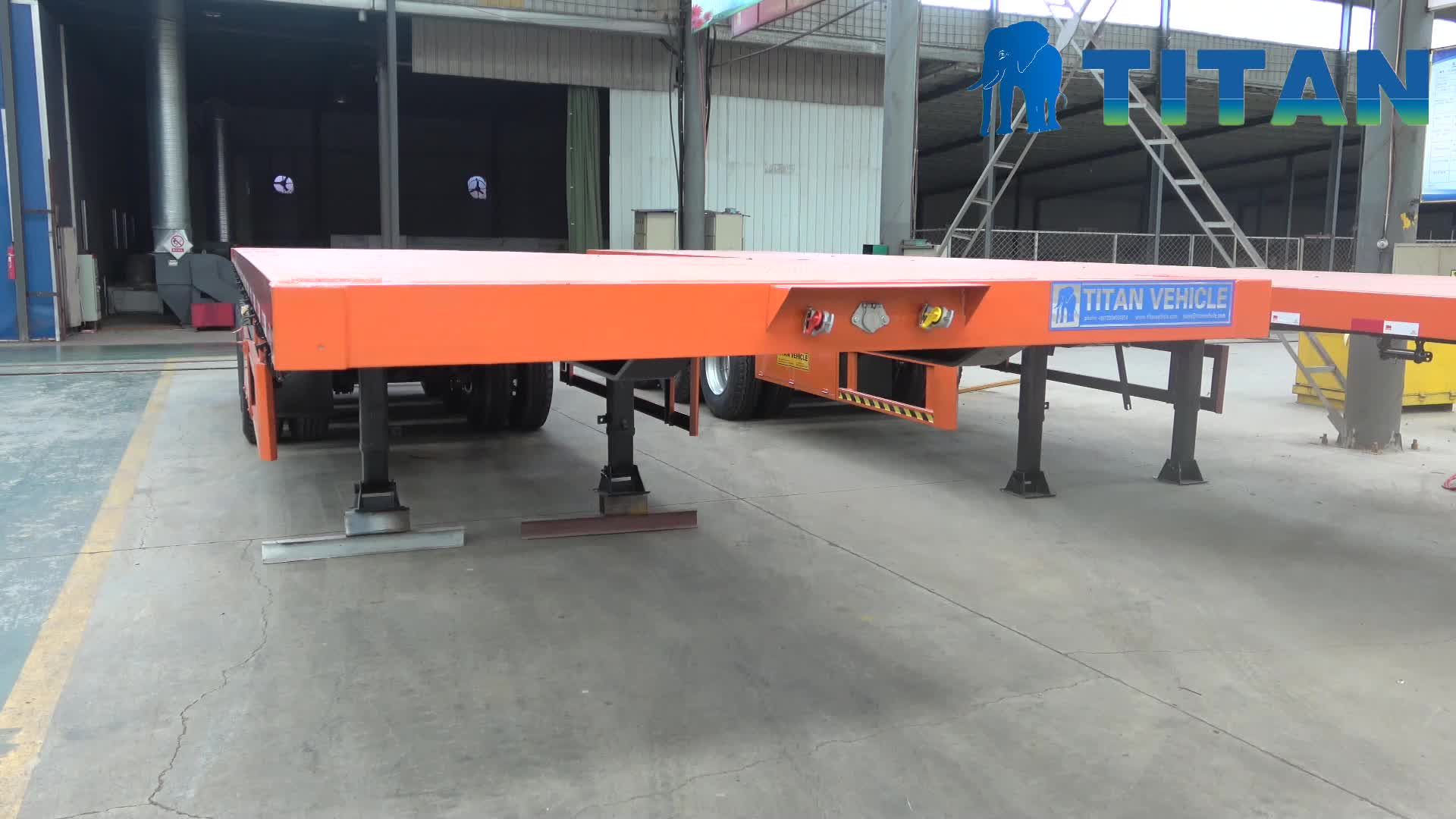 TITAN best price tri-axle 20ft 40 feet container semi flat bed flatbed trailer with container lock