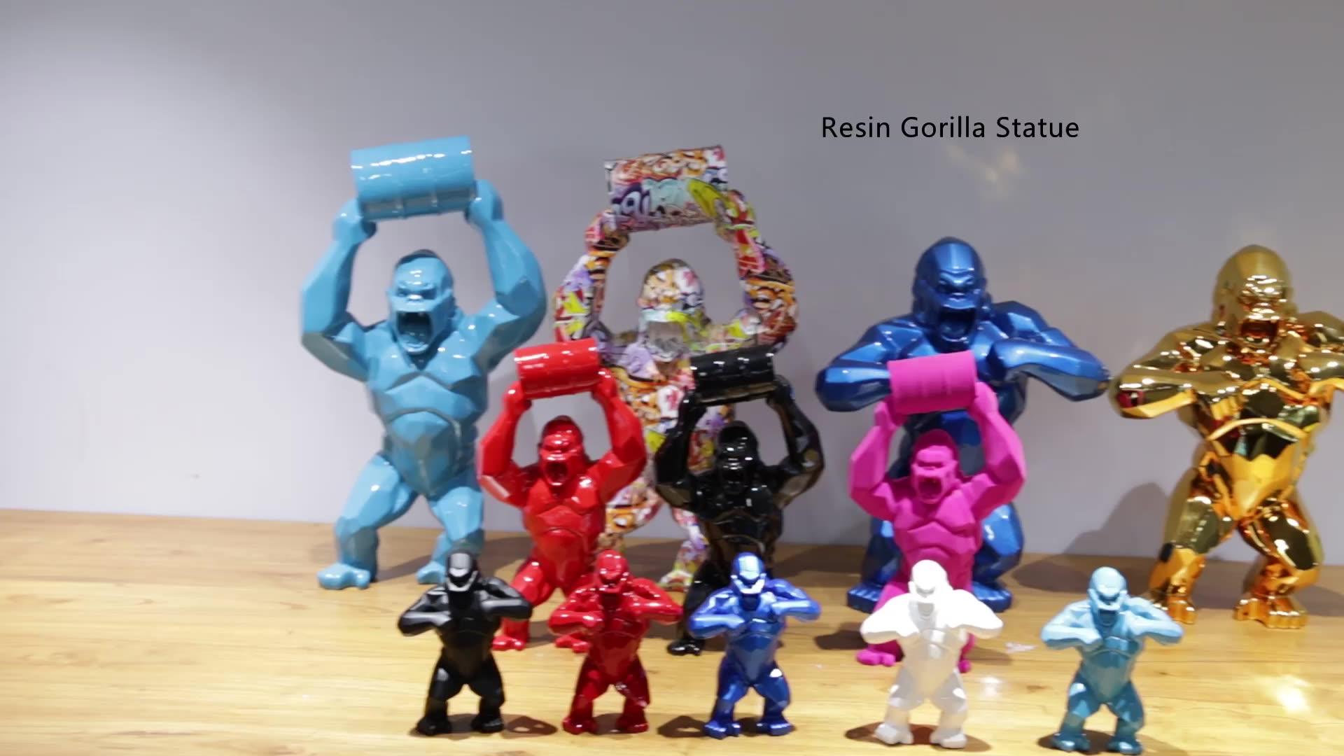 Yeni tasarım grafiti gorilla heykel soyut reçine hayvanlar heykel