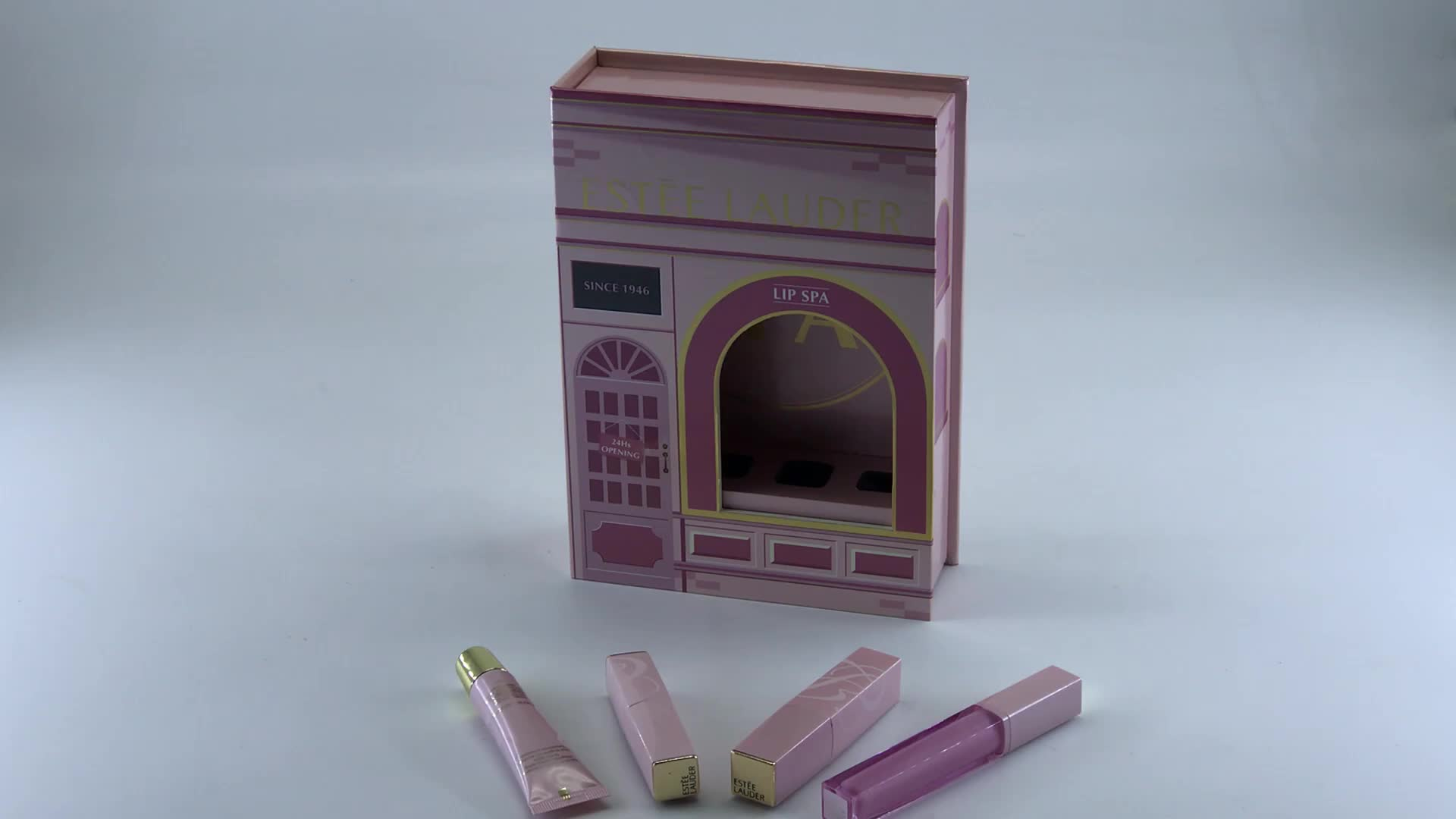china custom luxury pink door cardboard box with spa 4 pcs moisturizing  lip color for lipstick cosmetics perfume box packaging
