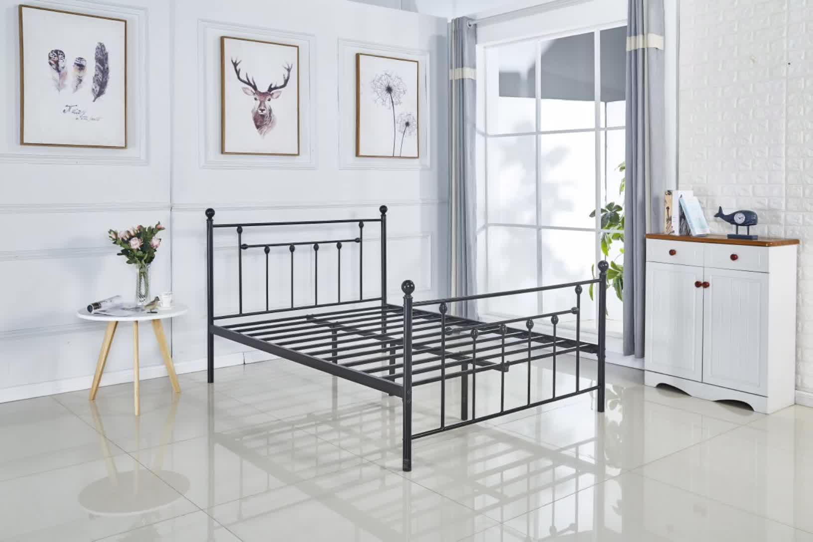 Кровать двуспальная металлическая кровать для взрослых металлическая кровать для матраса фундамент платформа