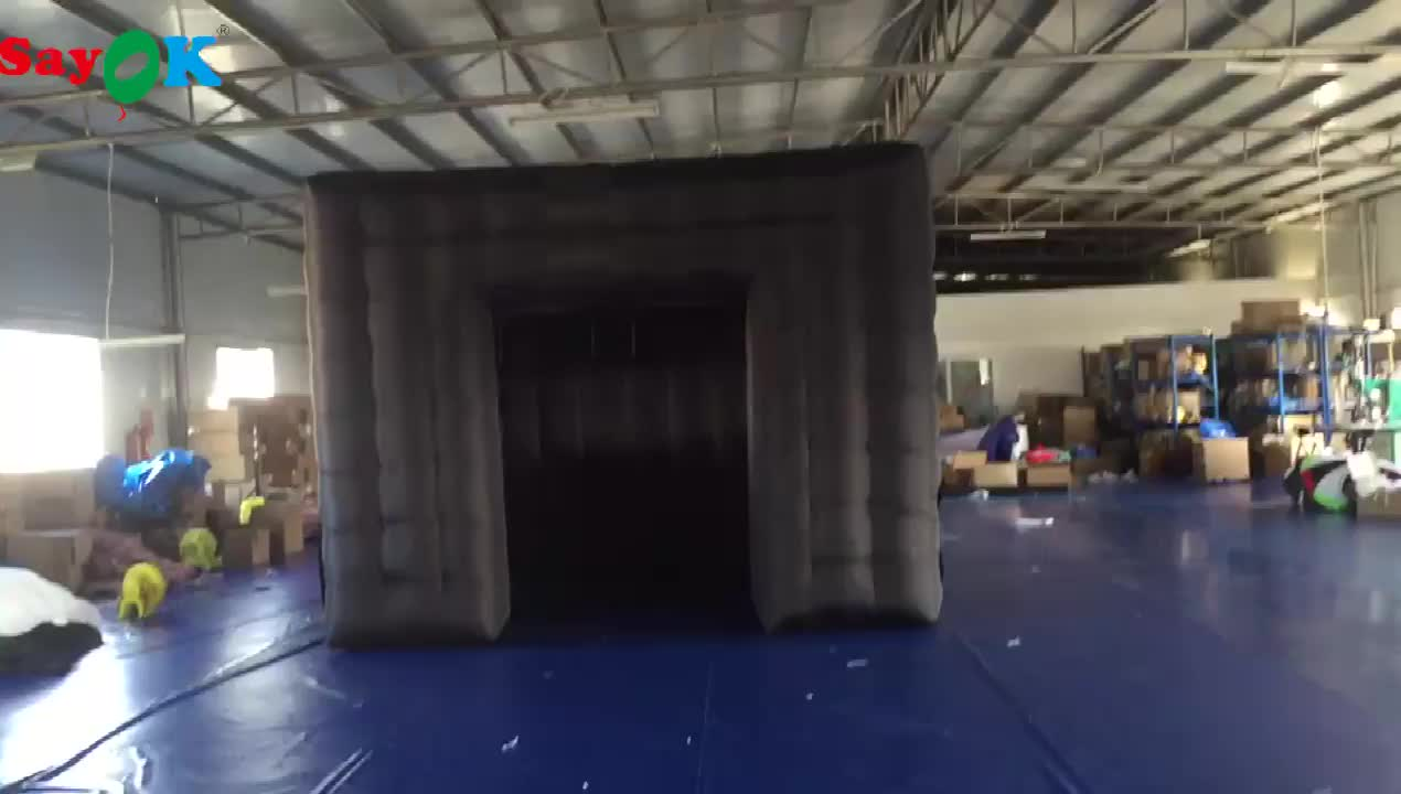 black cube inflatable tent for event advertising