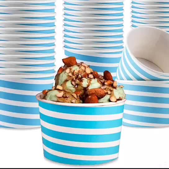Ice Cream Sundae Cups With Lids Disposable Paper Dessert Bowls and Party Supplies Cups