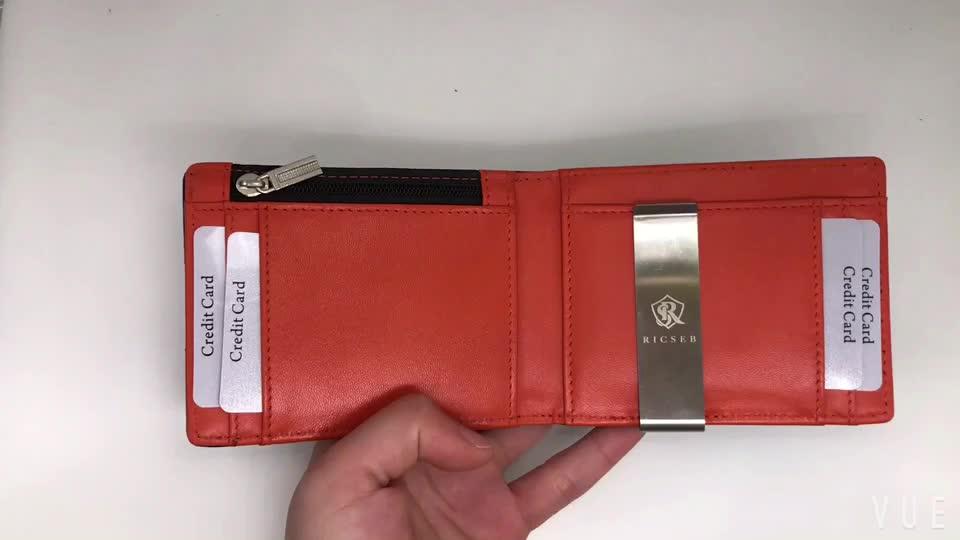 Ensoleillé Cuirs usine Offres Spéciales portefeuille de poche avant minimaliste en cuir mince RFID portefeuille avec pince à billets pour hommes