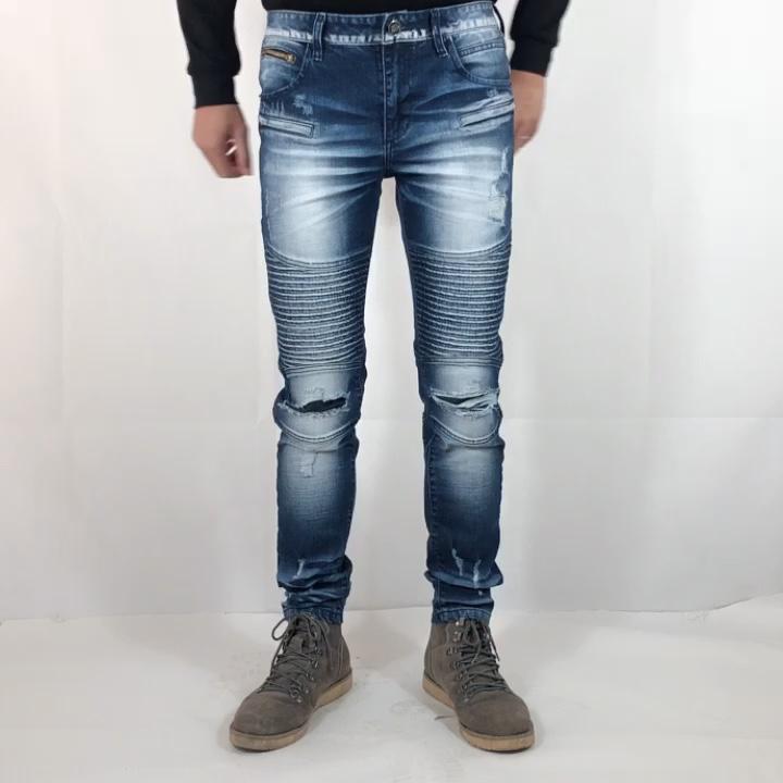 OEM service custom 2020 new style slim patch torn biker denim jeans for men