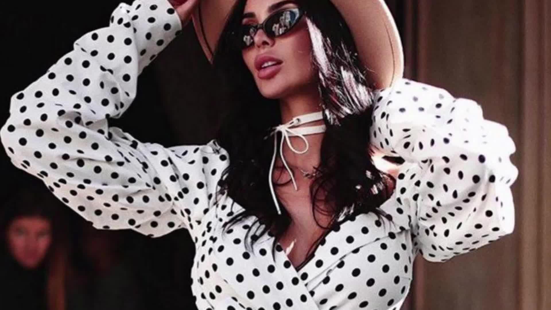 卸売新ファッション女性ディープ V ネックのセクシーな水玉シャツ女性の長袖シフォントップ