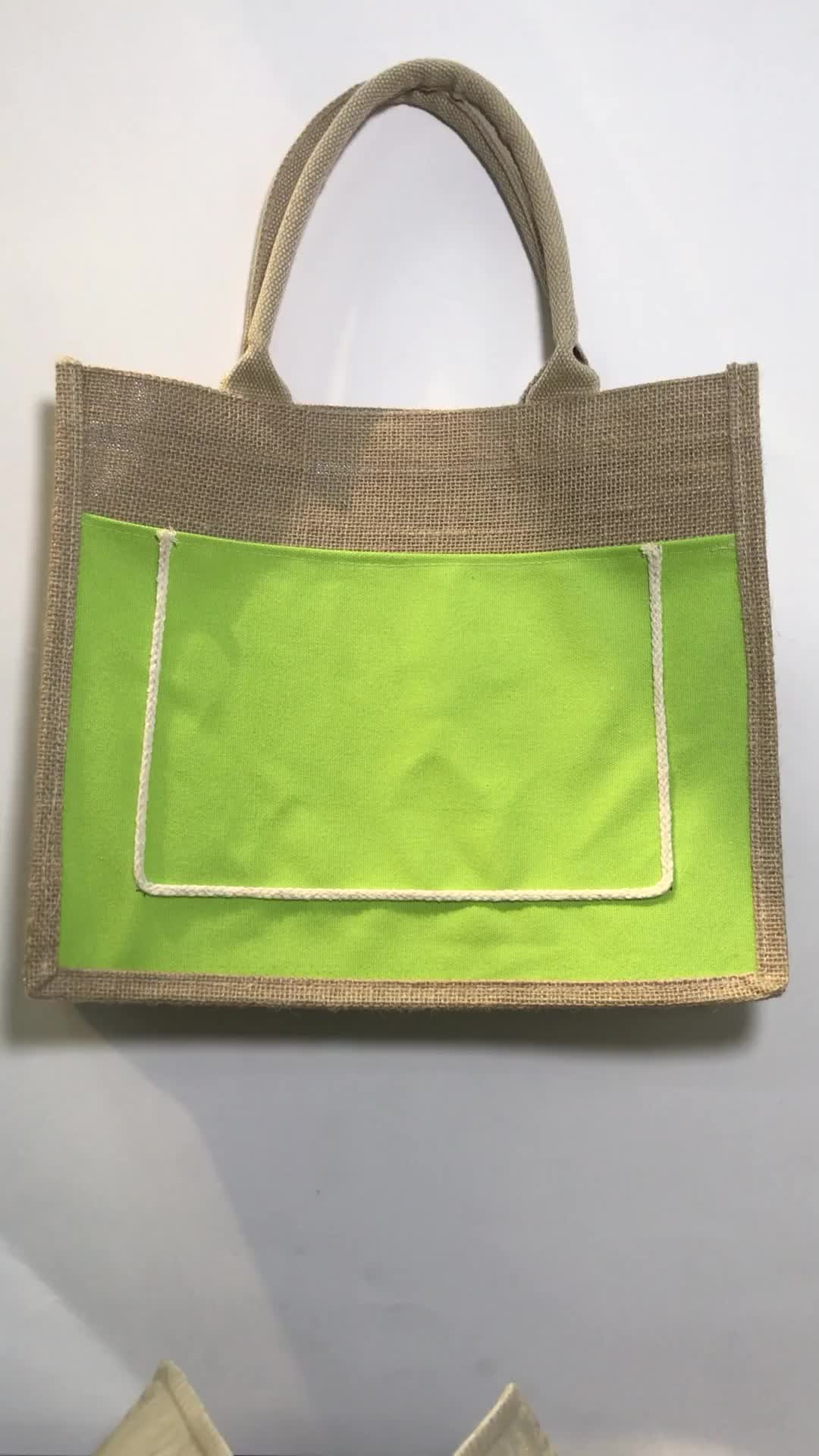 Recycle bag 100% jute bag with button shopping bag