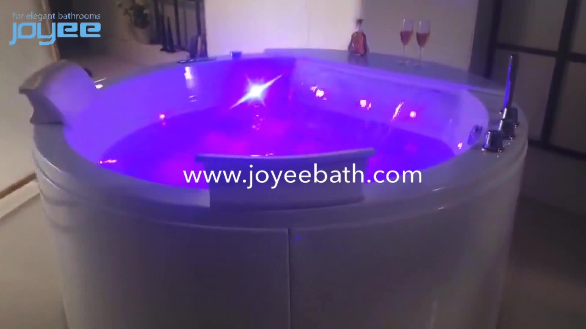 JOYEE d'intérieur spa rond baignoire en laiton cuivre robinet en plastique acrylique baignoire au sol avec fonction jacuzzi pour adultes