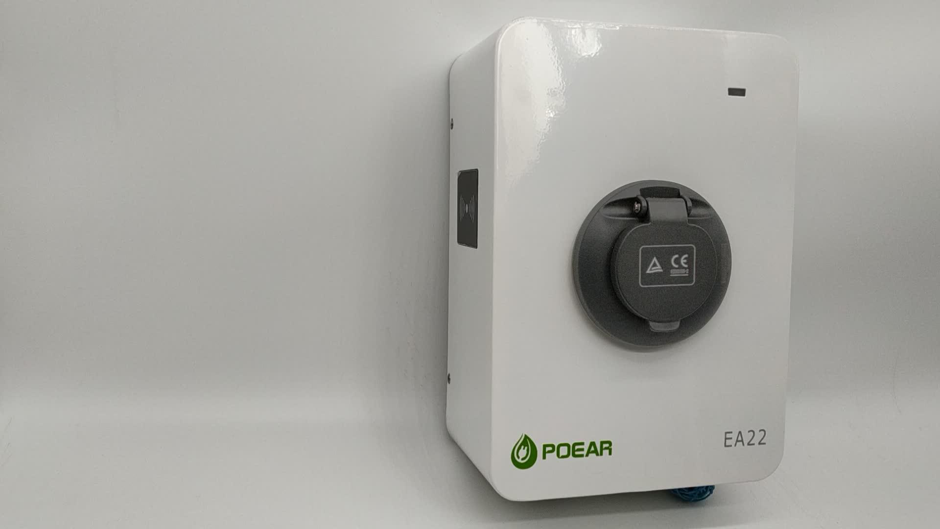 22KW 400 V 32a 벽 마운트 ev 충전기, ac ev 충전소 유형 2 소켓 및 유형 B RCD, OEM