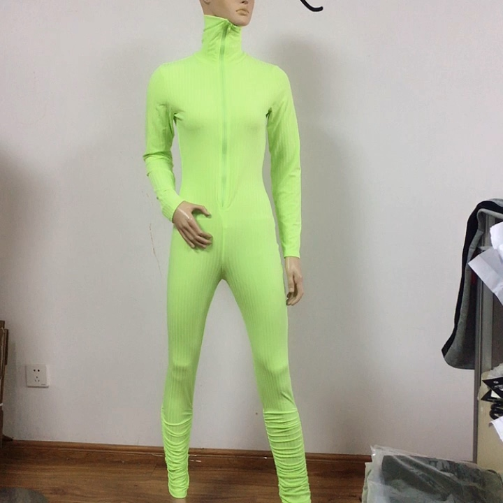 Sexy Women Bodysuit Long Sleeve Clothing Wear Slim Skinny Clubwear Solid Zipper Bodycon Jumpsuit Casual