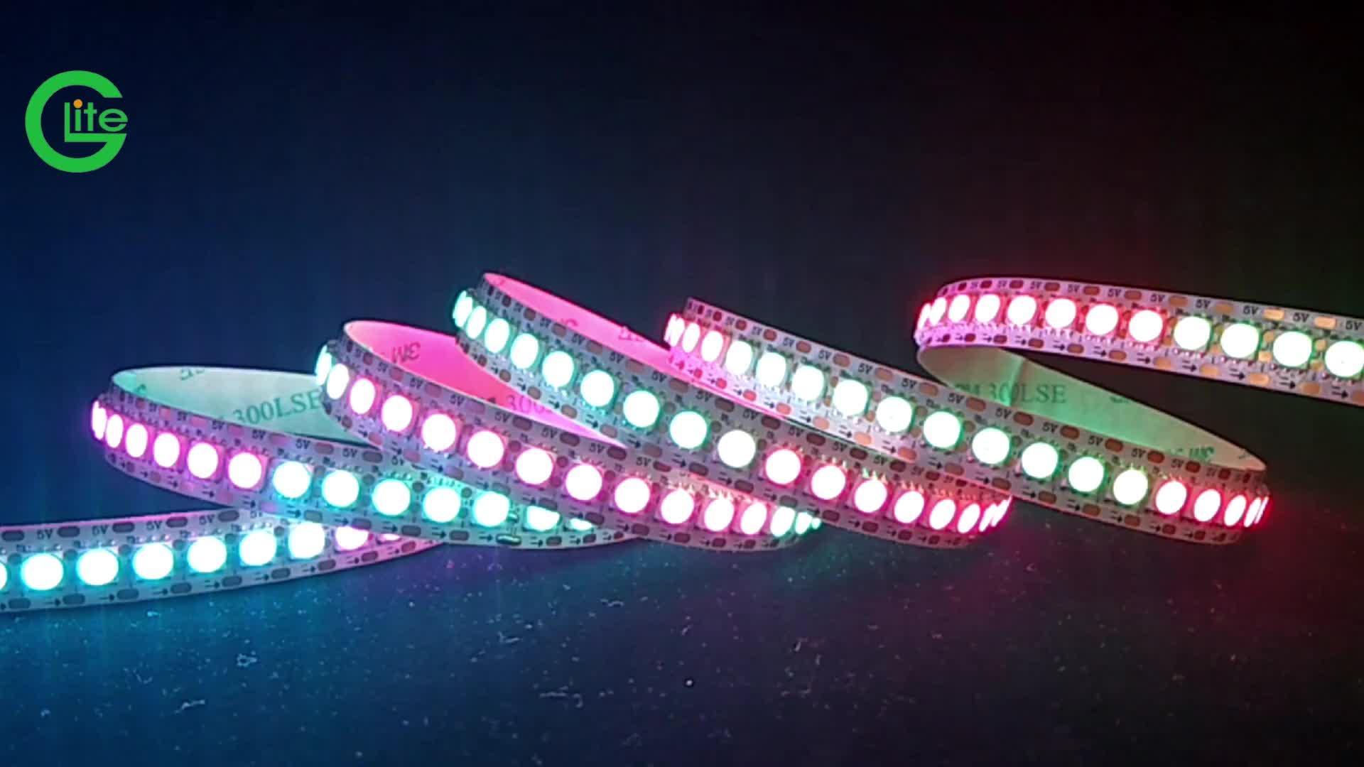 Glite WS2812B بشكل فردي عنونة LED بكسل شريط مرن ضوء 1 متر 144 المصابيح 5050 RGB مصلحة الارصاد الجوية مقاوم للماء IP20 أسود PCB 5 فولت تيار مستمر