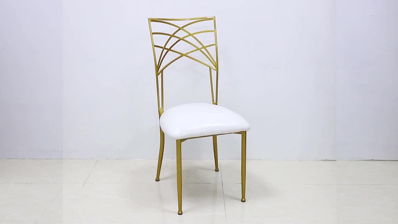 Venta al por mayor de oro boda de acero inoxidable hotel banquete de boda camaleón silla en venta