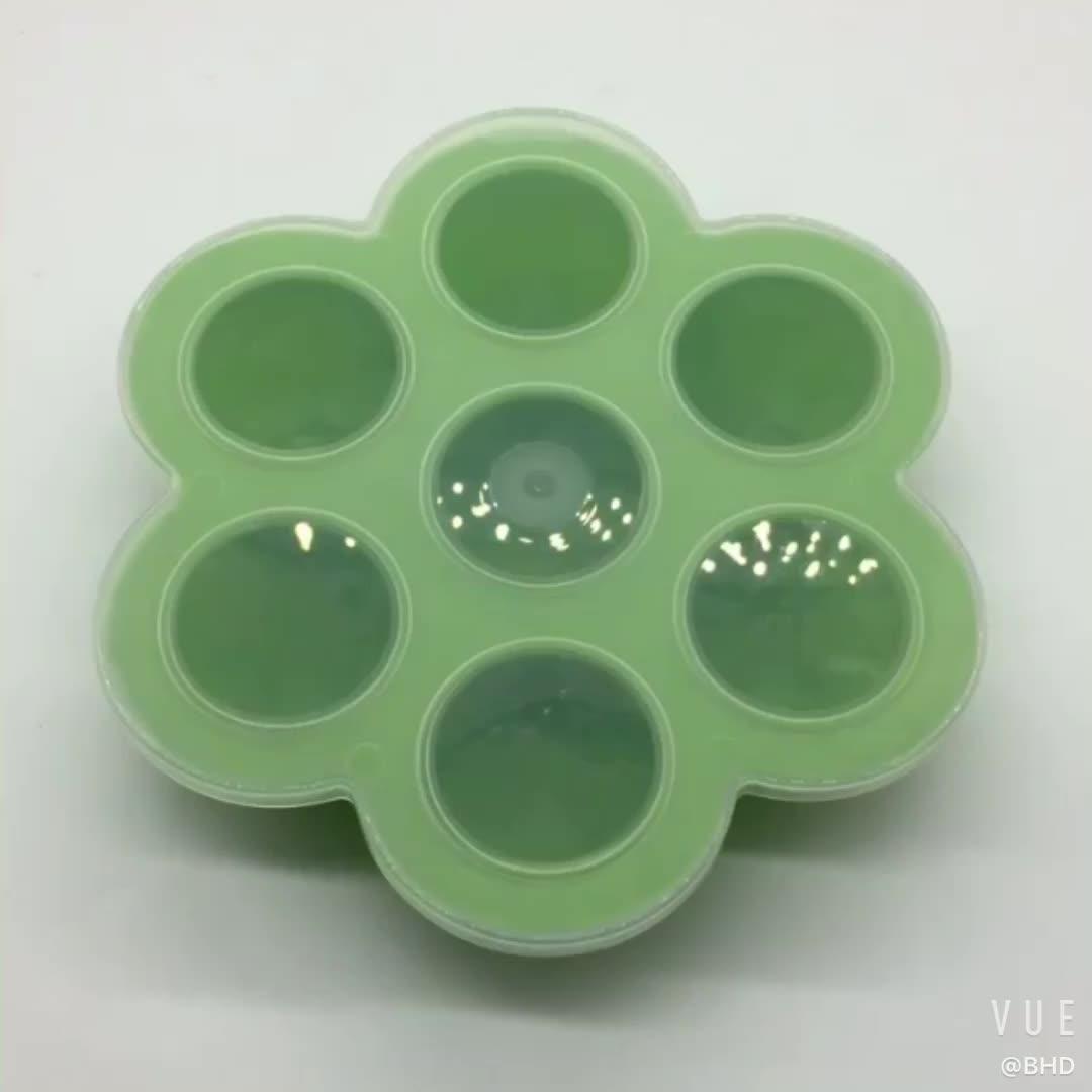 Benhaida Không Tràn FDA Chấp Thuận Cấp Thực Phẩm Silicone Bé Thực Phẩm Khay Tủ Đông với Clip-trên Nắp