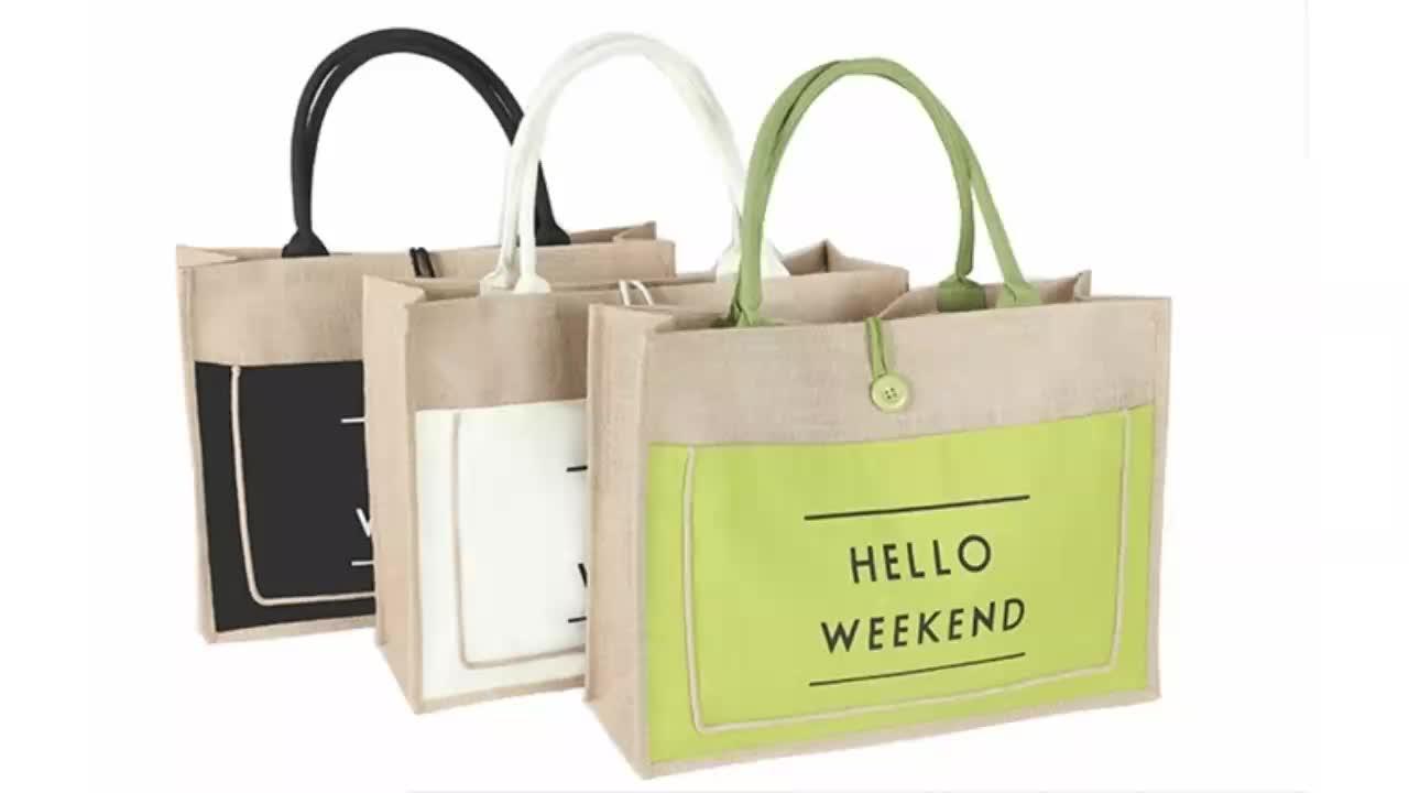 Mode grand logo personnalisé lettre double en toile de jute sac de jute sac à provisions portable