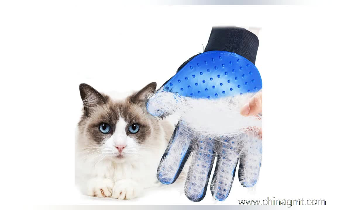 Pet Grooming Glove Gentle Deshedding Brush Glove Silicone Five Finger Cleaning Brush Pet Brush Glove
