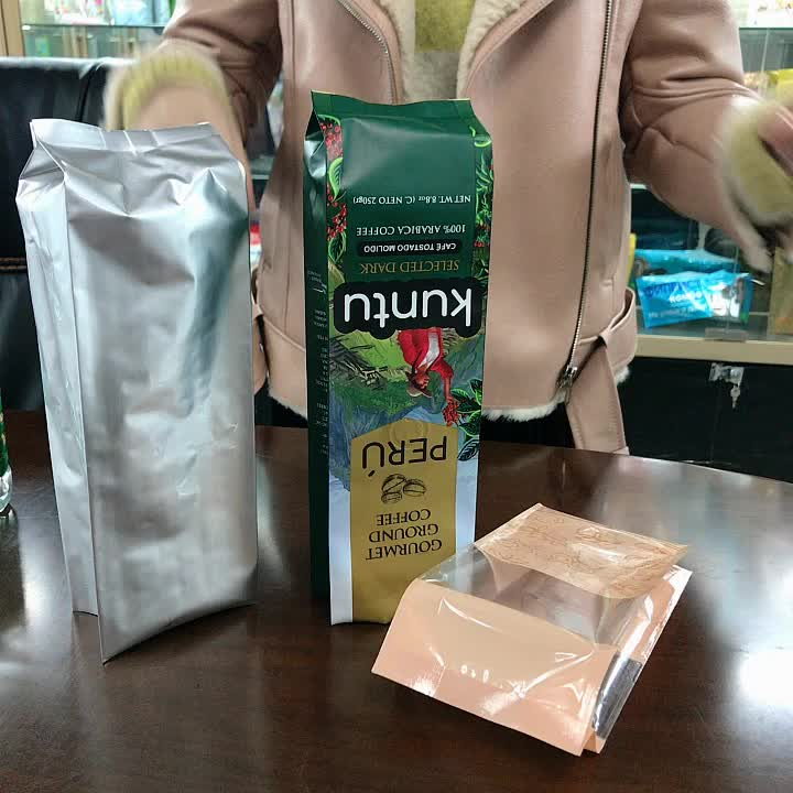 500g coffee aluminum foil packaging bag with valve