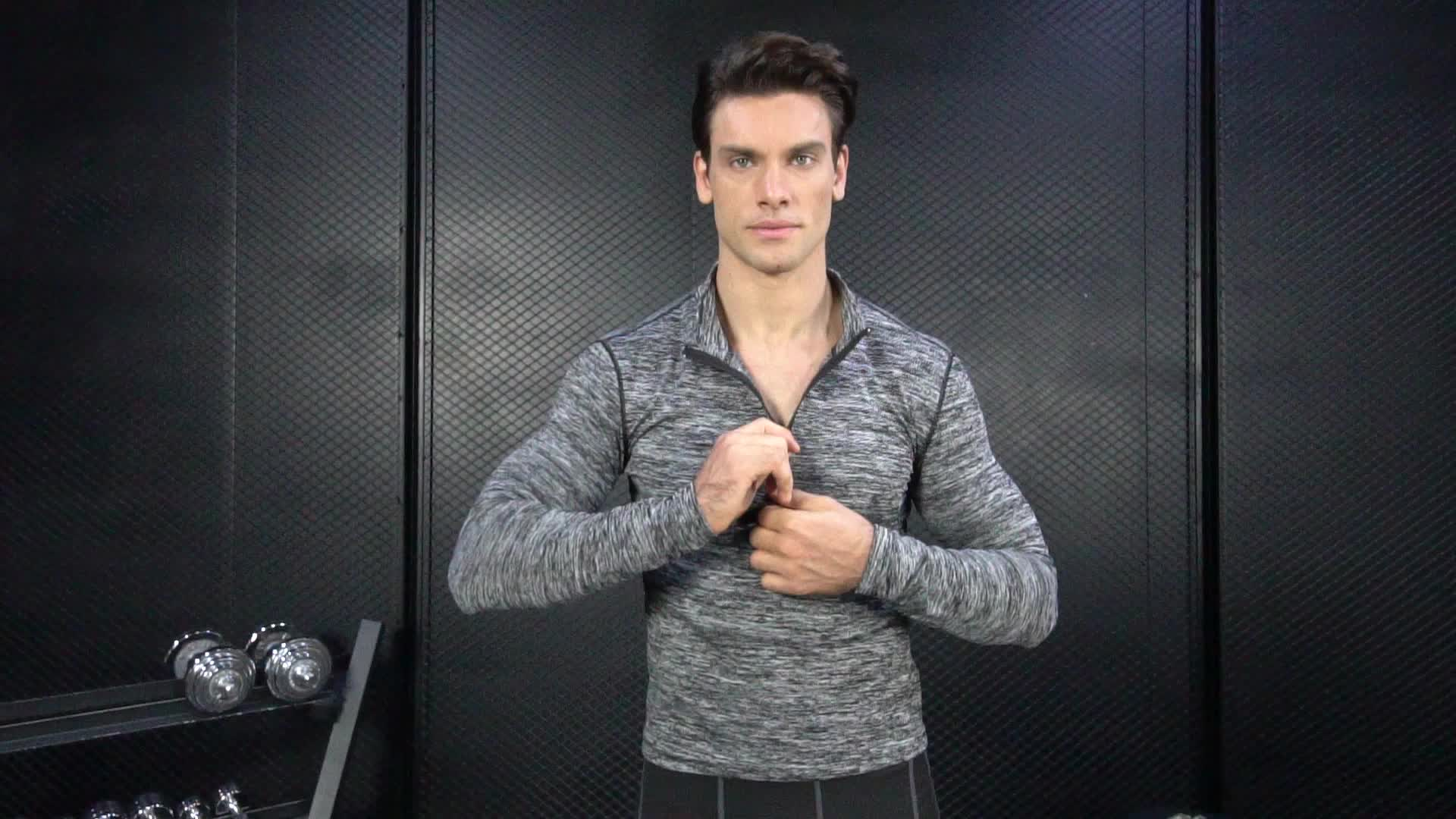 Chaquetas para hombre de alta calidad, Tops deportivos, ropa deportiva, 1/4 Zip, suéter activo, entrenamiento, gimnasio, camisetas de manga larga