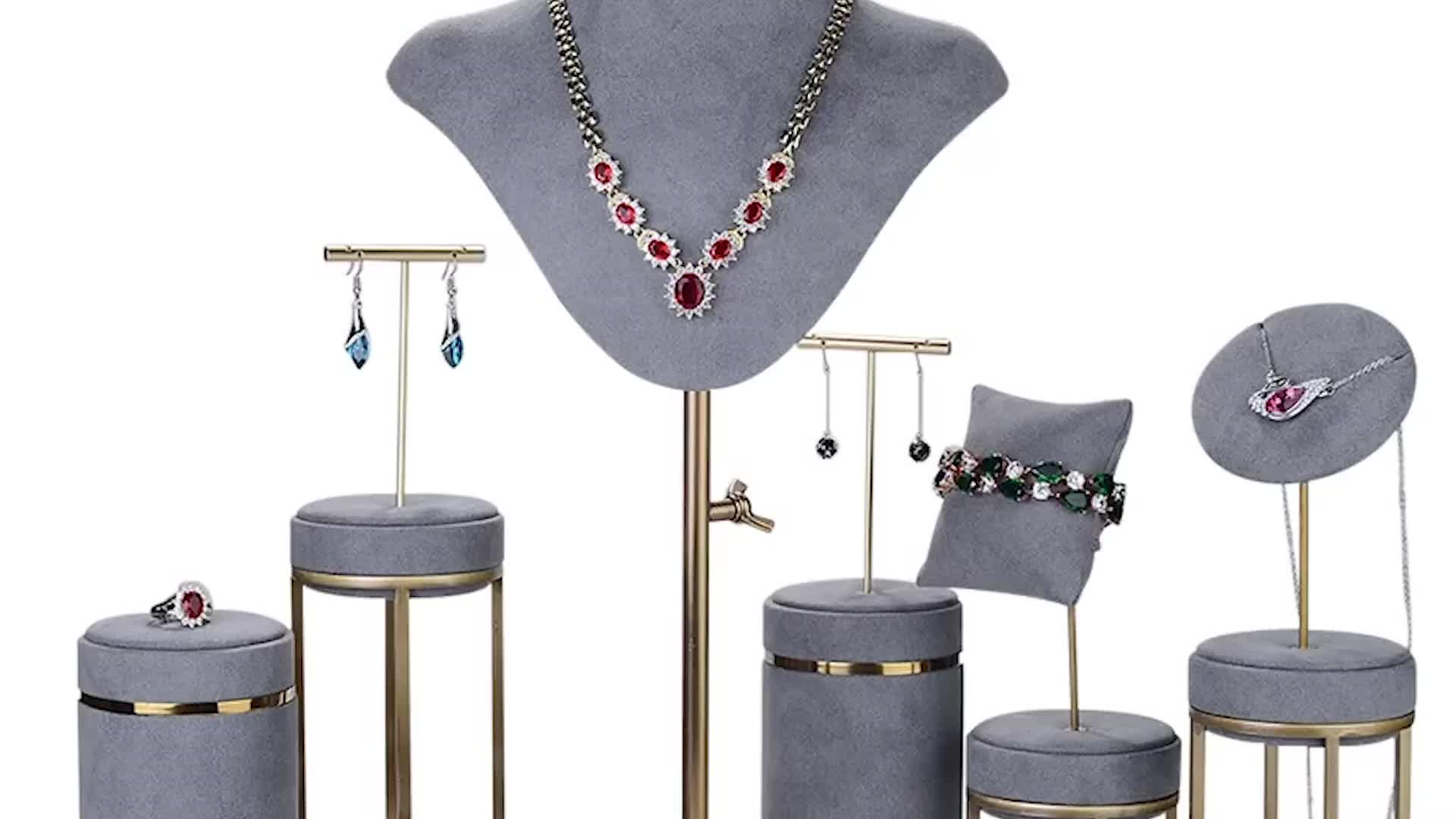 Luxury Customized Brown Microfiber Ring Chain Display Holder Jewelry Display Stand Sets For Store