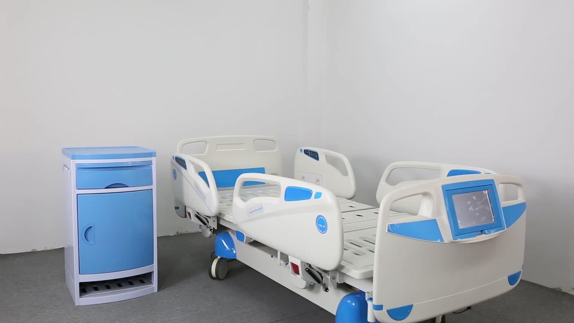 Medische Apparatuur Prijs Twee Functie Krukken Handleiding Ziekenhuis Bed voor ICU Kamer met ABS Hoofd en Voet Board
