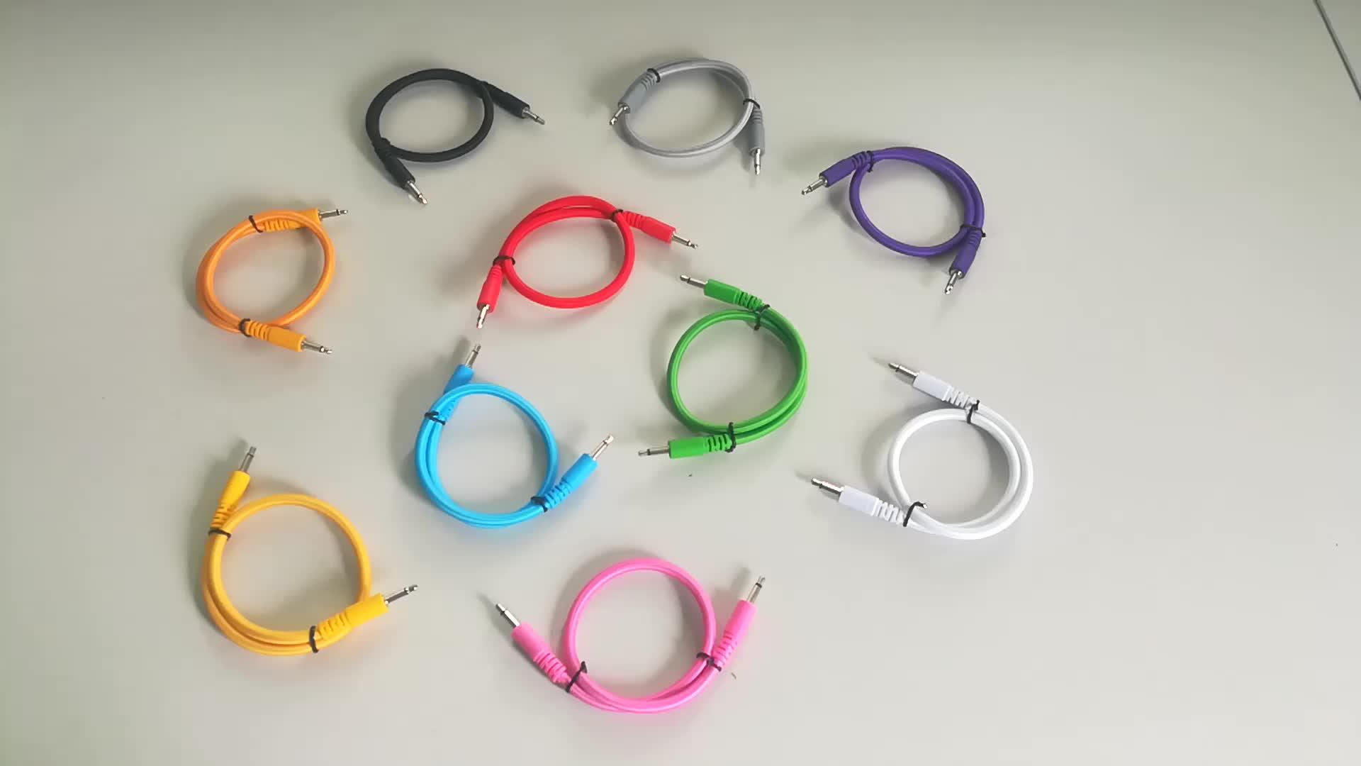 """Grosir Alibaba Nilon Dikepang Kabel Audio 1/8 """"3.5 Mm Mono Patch Eurorack Kabel Patch untuk Modular Synthesizer"""