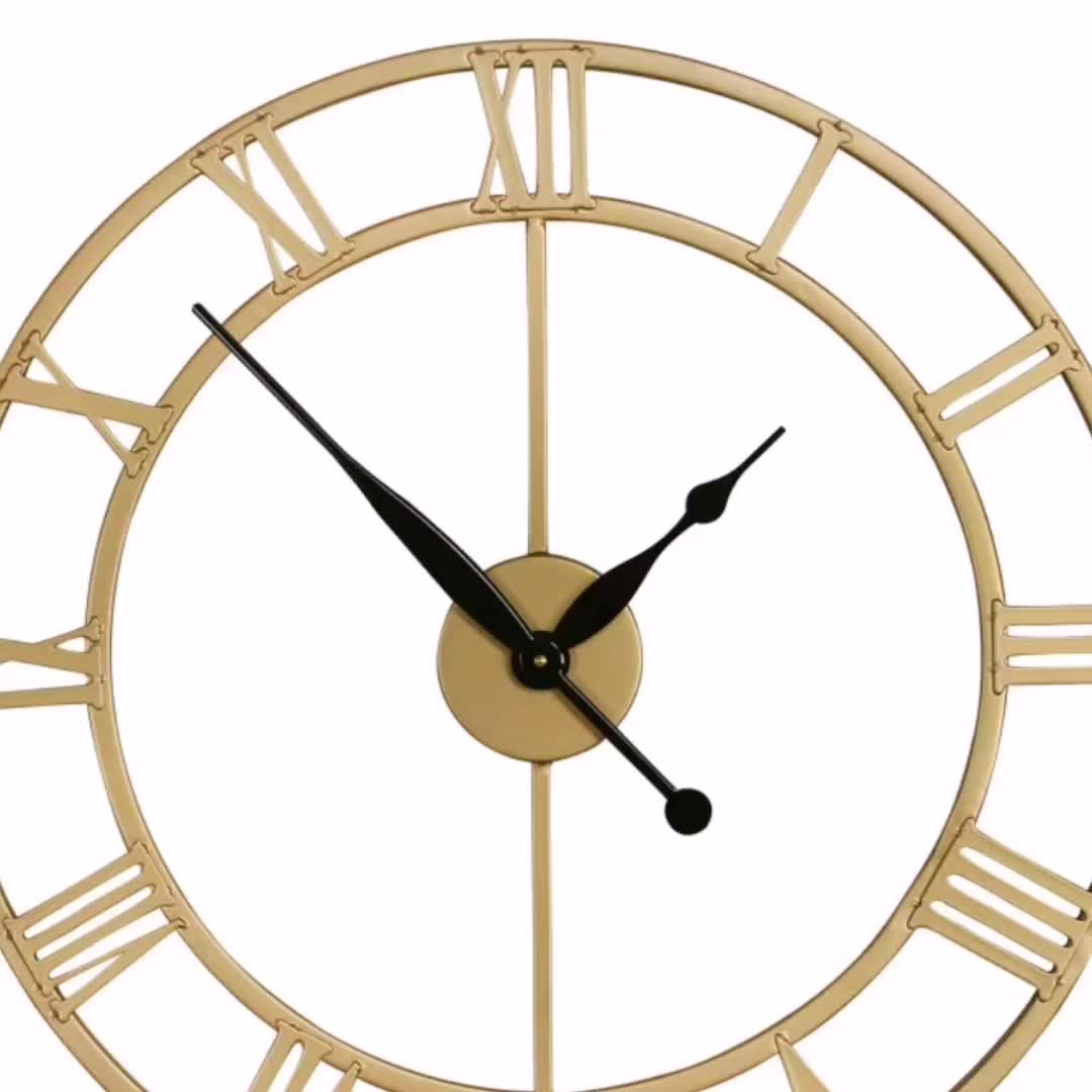 Mayco Large Round Industrial Metal Antique Wall Clock
