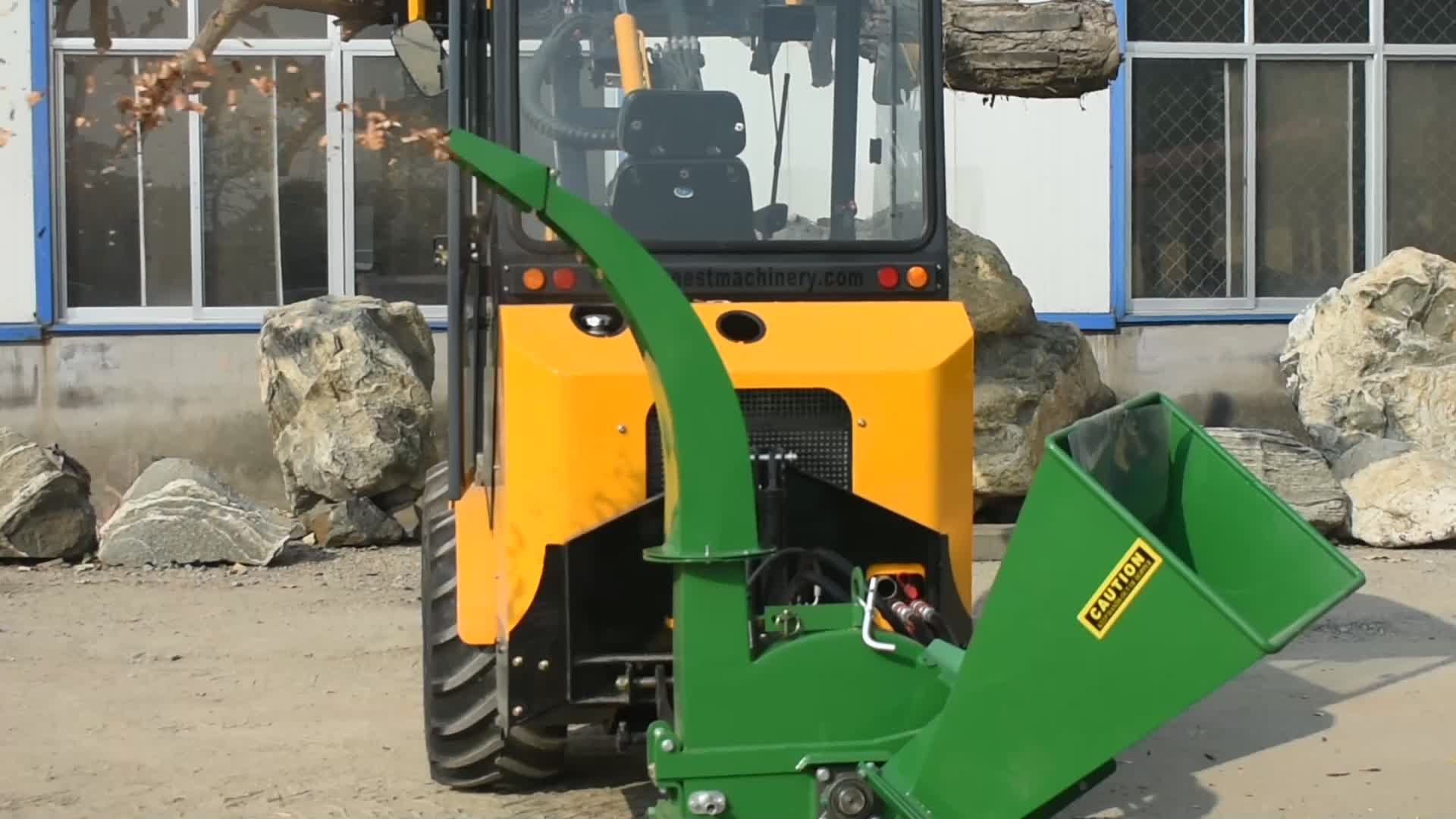 small wheel loader with wood chipper and log grapple for sale