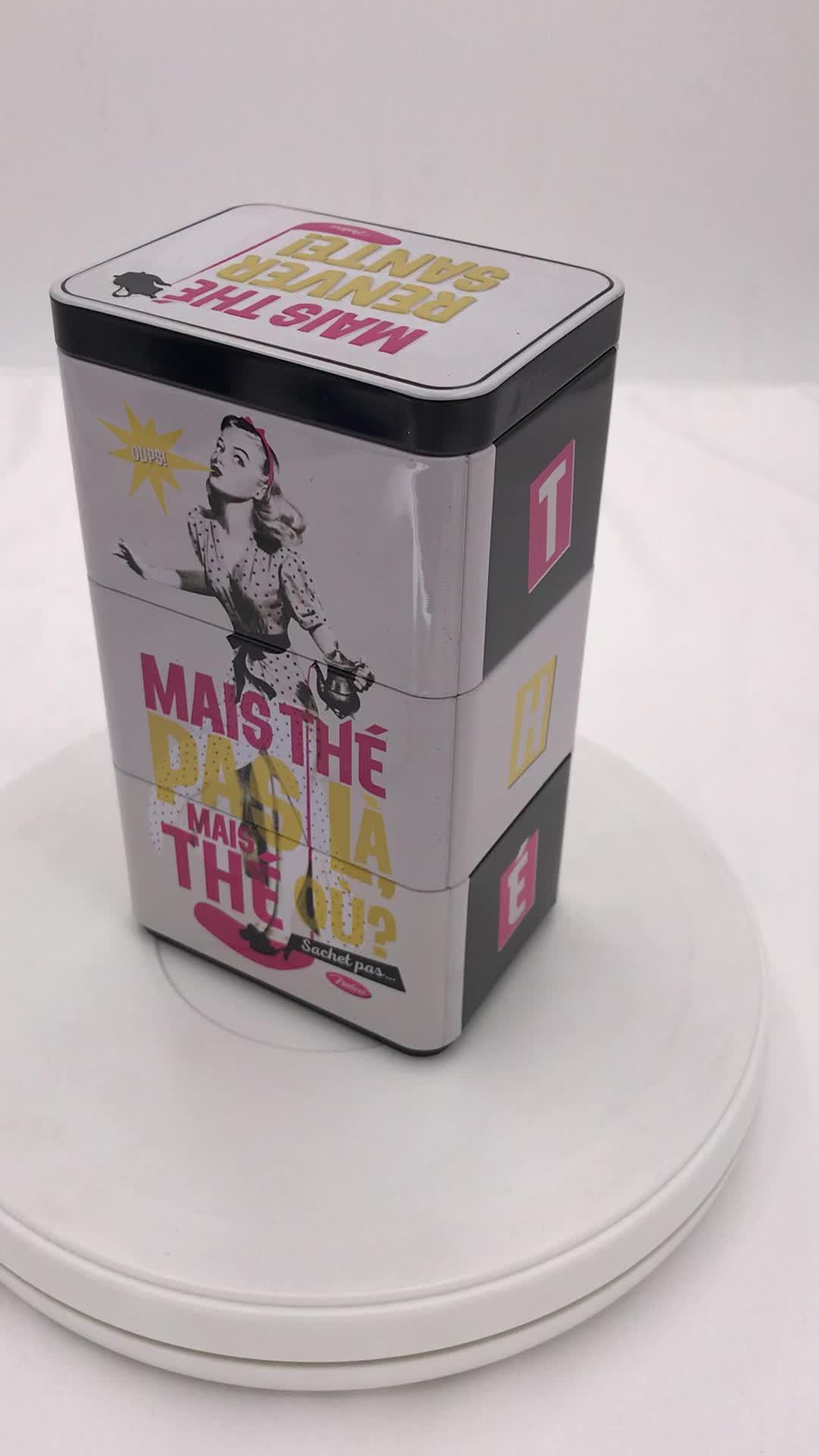 长方形精美糖果铁盒 茶叶铁盒 方形叠层咖啡铁盒定做生产厂家