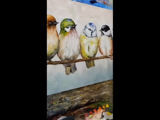 Acrylic Decoration Painting And Drawing Birds Hand Painted Oil Painting Wall Art