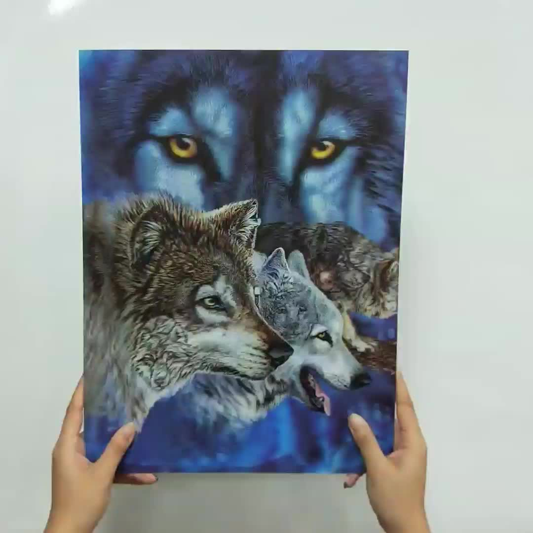 Wholesale lenticular 3d 5d wall art picture of animal 3d lenticular image wolf 3d picture