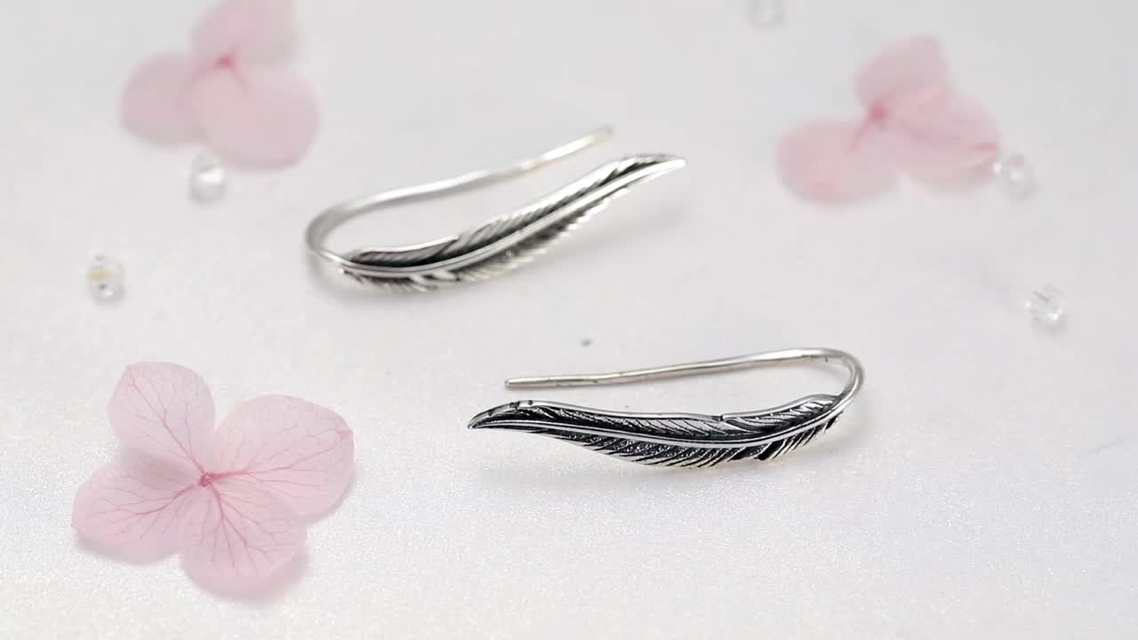 Wholesale Turkish 925 Sterling Silver Wing Drop Stud Feather Earrings Silver