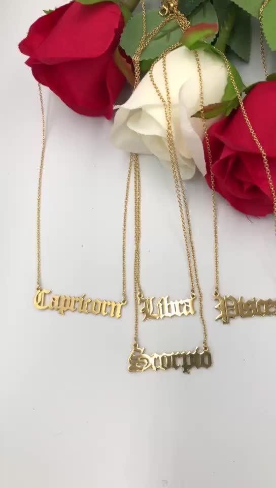 Angepasst edelstahl sternzeichen halskette, Alt Englisch schrift, 18 K gold überzogen, rose gold, silber