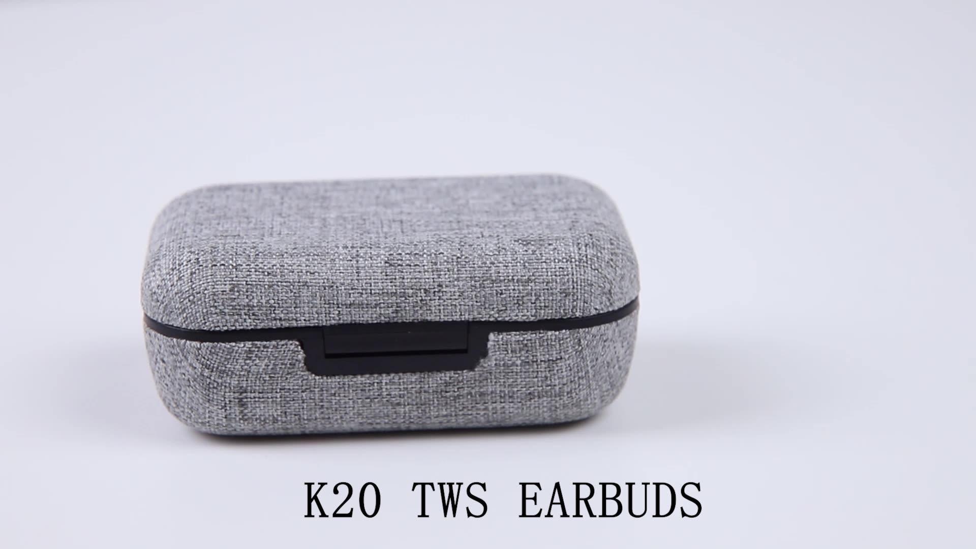 K20 2600Mah Opladen Case Tws Oordopjes Waterdicht Bluetooth Oortelefoon Ruisonderdrukkende Draadloze Hoofdtelefoon