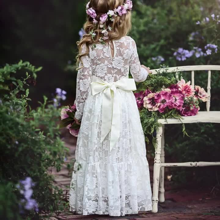 2018 White Princess Beauty Dress Girls Lace Dress Christening Gowns For Girls