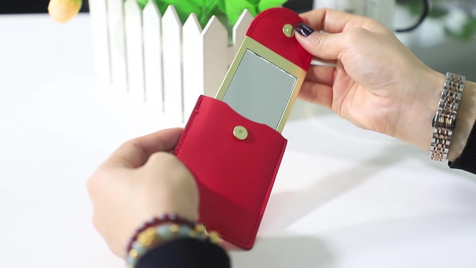 Personalizado pequeno hand held metal espelho de maquilhagem espelho decorativo borla