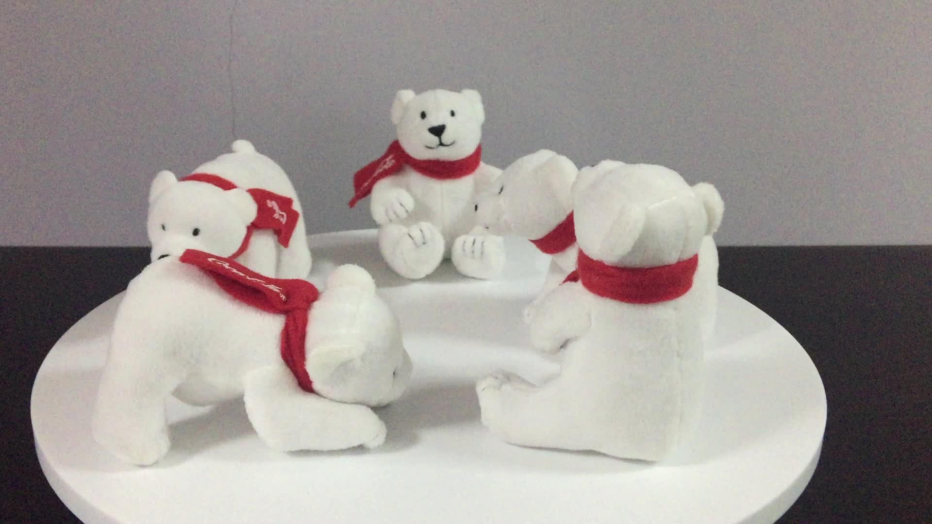 โปรโมชั่นโคล่าโรงงานผ่านการตรวจสอบCOCA-COLAยี่ห้อตุ๊กตาหมีขั้วโลกที่มีสีแดงถักผ้าพันคอโค้กคริสต์มาส